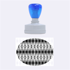 Blue White Diamond Pattern  Rubber Oval Stamps