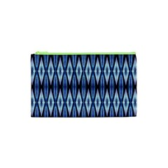 Blue White Diamond Pattern  Cosmetic Bag (xs)