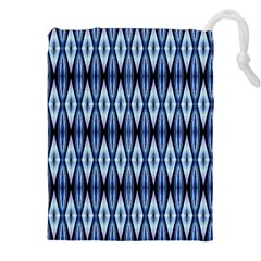 Blue White Diamond Pattern  Drawstring Pouches (XXL)