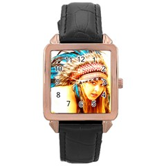 Indian 12 Rose Gold Leather Watch