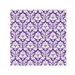 White On Purple Damask Small Satin Scarf (square)