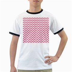 Pink And White Zigzag Ringer T Shirts
