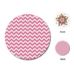 Pink And White Zigzag Playing Cards (round)