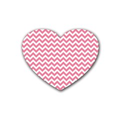 Pink And White Zigzag Rubber Coaster (heart)