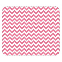 Pink And White Zigzag Double Sided Flano Blanket (small)