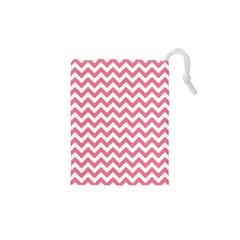 Pink And White Zigzag Drawstring Pouches (XS)