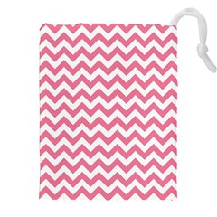 Pink And White Zigzag Drawstring Pouches (XXL)