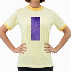 Purple Modern Leaf Women s Fitted Ringer T Shirts