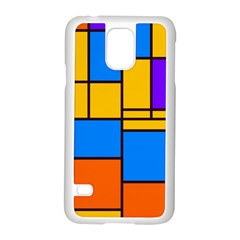 Retro Colors Rectangles And Squares samsung Galaxy S5 Case (white)
