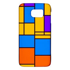 Retro Colors Rectangles And Squares 			samsung Galaxy S6 Hardshell Case