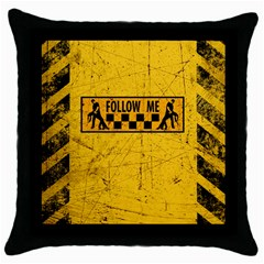 FOLLOW ME used look Throw Pillow Cases (Black)