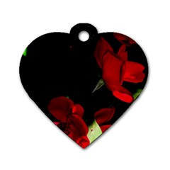 Roses 1 Dog Tag Heart (two Sides)
