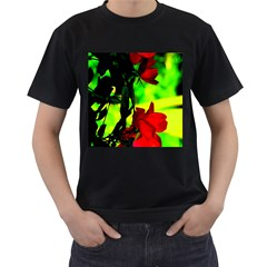 Red Roses And Bright Green 1 Men s T Shirt (black) (two Sided)