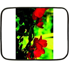 Red Roses And Bright Green 1 Fleece Blanket (mini)