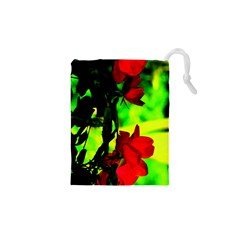 Red Roses and Bright Green 1 Drawstring Pouches (XS)