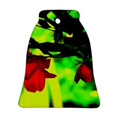 Red Roses And Bright Green 2 Bell Ornament (2 Sides)
