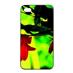 Red Roses And Bright Green 2 Apple Iphone 4/4s Seamless Case (black)