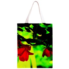 Red Roses and Bright Green 2 Classic Light Tote Bag