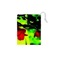 Red Roses And Bright Green 2 Drawstring Pouches (xs)