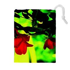 Red Roses And Bright Green 2 Drawstring Pouches (extra Large)