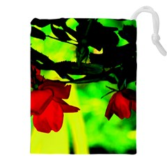 Red Roses and Bright Green 2 Drawstring Pouches (XXL)