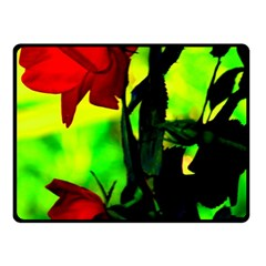 Red Roses And Bright Green 3 Fleece Blanket (small)