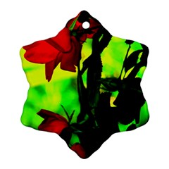 Red Roses And Bright Green 3 Snowflake Ornament (2 Side)