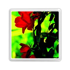 Red Roses And Bright Green 3 Memory Card Reader (square)