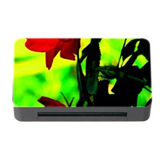 Red Roses And Bright Green 3 Memory Card Reader With Cf