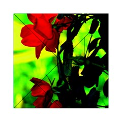 Red Roses And Bright Green 3 Acrylic Tangram Puzzle (6  X 6 )