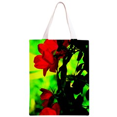 Red Roses and Bright Green 3 Classic Light Tote Bag