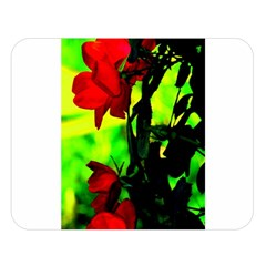 Red Roses And Bright Green 3 Double Sided Flano Blanket (large)