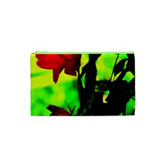 Red Roses And Bright Green 3 Cosmetic Bag (xs)