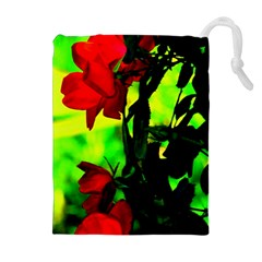 Red Roses And Bright Green 3 Drawstring Pouches (extra Large)