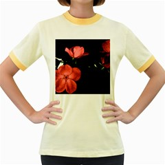 Mauve Roses 2 Women s Fitted Ringer T Shirts