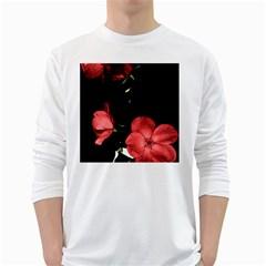 Mauve Roses 3 White Long Sleeve T Shirts