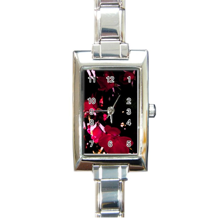 Pink Roses Rectangle Italian Charm Watch