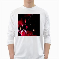 Pink Roses White Long Sleeve T Shirts
