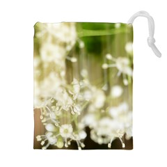Little White Flowers Drawstring Pouches (Extra Large)