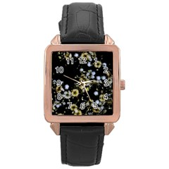 Little White Flowers 2 Rose Gold Leather Watch