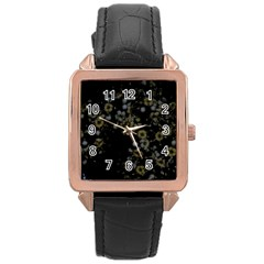 Little White Flowers 3 Rose Gold Leather Watch