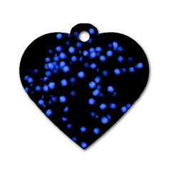 Little Blue Dots Dog Tag Heart (one Side)