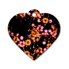 Little Peach And Pink Flowers Dog Tag Heart (one Side)