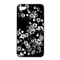 Little Black And White Flowers Apple Iphone 4/4s Seamless Case (black)