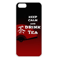 Keep Calm And Drink Tea - dark asia edition Apple iPhone 5 Seamless Case (White)