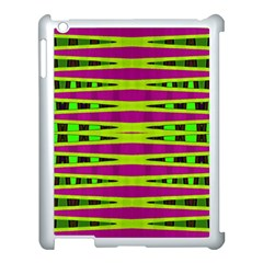 Bright Green Pink Geometric Apple iPad 3/4 Case (White)