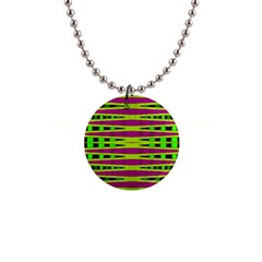Bright Green Pink Geometric Button Necklaces