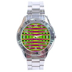 Bright Green Pink Geometric Stainless Steel Analogue Watch