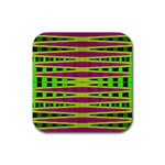 Bright Green Pink Geometric Rubber Coaster (Square)  Front