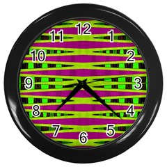 Bright Green Pink Geometric Wall Clocks (Black)